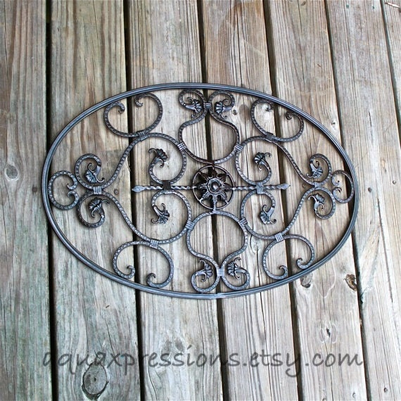 Items similar to metal oval wall decor scrolls wall fixture brown distressed patio decor - Oval wall decor ...