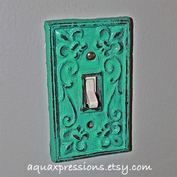 Laguna green decorative light switch plate by aquaxpressions for Unique light switch plates