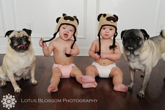 Pug Hat - Crochet pug hat