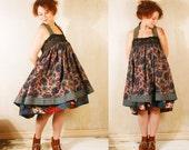 Patchwork  dress Babydoll dress Gypsy bohemian dress Fall fashion Mini dress Russian dress Empire dress Festival dress Autumn dress RESERVED
