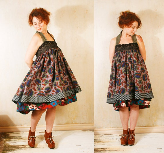 Patchwork  dress Babydoll dress Gypsy bohemian dress Fall fashion Mini dress Russian dress Empire dress Festival dress Autumn dress RESERVED