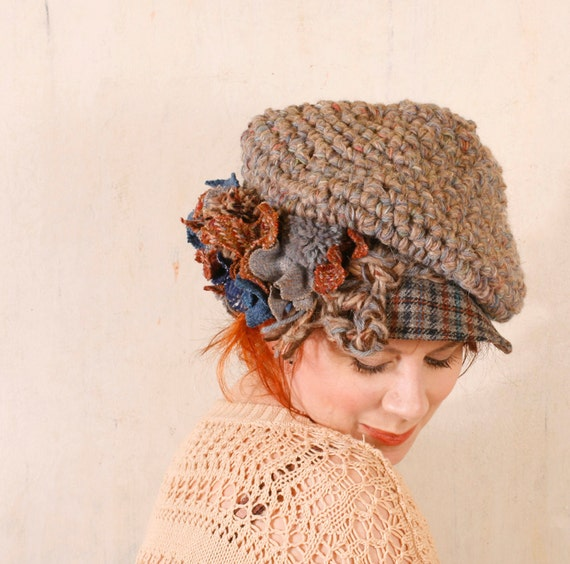Woman knit hat Woman beige hat Crochet newsboy grey Blue brown hat Woman wool hat Winter accessory Woman crochet hat Chunky knit woman