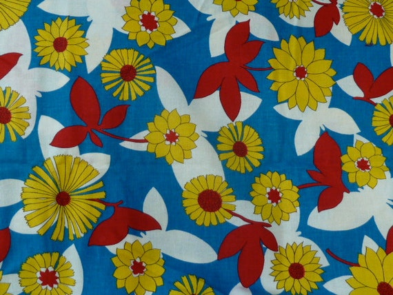 vintage 1960s mod cotton fabric flowers yellow red blue white