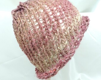 Dusty Rose and Bronze Knit Hat with Rolled Brim