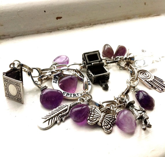 Potion Bottle and Witch Charm with Amethyst Drops Braclet