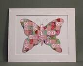 Pink Butterfly Wall Art - Paper Mosaic