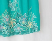 Teal Skirt with Hibiscus embroidery -Medium/ Large - Vintage Hawaii Skirt / Maternity Skirt