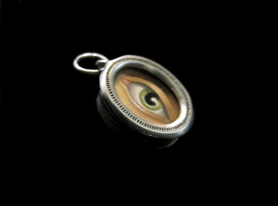 Antique Silver Reliquary Pendant w Miniature Painting of an Eye Inside (TINY)