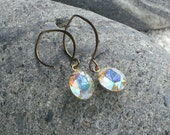 Rhinestone Earrings Oval Dangle Earrings of Swarovski AB Crystal