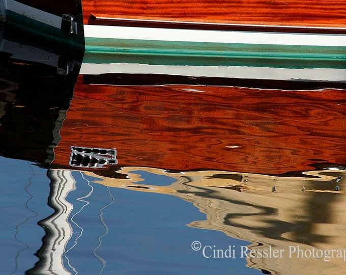 Brown Boat Reflection, Photography, Nautical Photography, Abstract Photography