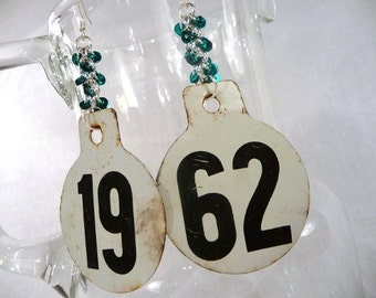 Numbered Earrings, Cow Ear Tags, Upcycled Metal Charms