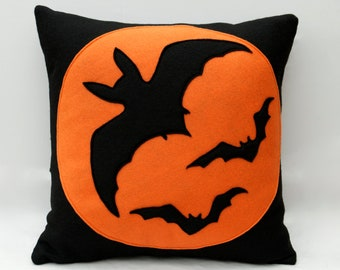 Bats Eco Felt Throw Pillow Cover 18 inches