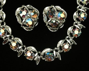 Vintage Aurora Borealis Rhinestone Choker Necklace Earring Set Wedding Special Occasion