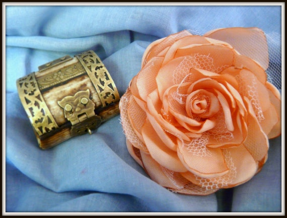 Wedding Salmon Rose, Beach Flower Hair Accessory, Bridal Peach Peony