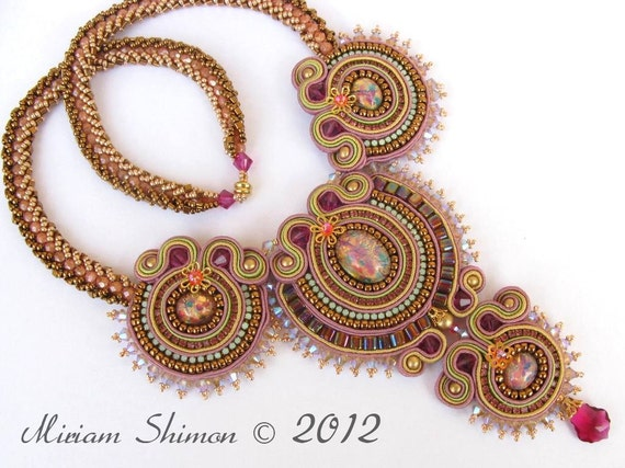 Soutache embroidery necklace in Mauve, Pink, Antique gold and Green