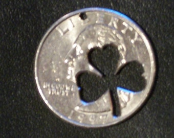 FREE SHIPPING Shamrock QuArter Very Rare Great 4 Necklace Earrings ZiPPer Pull Charm or even dog collar