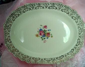 Vintage Shabby Platter Cottage Chic Pink Roses Gold Trim Blue Daisies Serving Platter Vintage Wedding