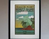 Retro Merritt Island Dragon Travel Poster - 13x19 Print