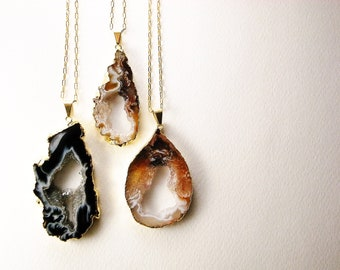 Agate Geode Slice, Ocho Druzy Long Necklace - Aphrodite's Necklace, Gift for Her