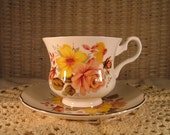 Orange and Yellow Floral Tea Cup and Saucer Fall Decor Fall Tableware