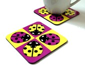 The Ladybird Coaster - Fun Coasters Animal Coasters Bright Coasters Childrens Coasters Kids Coasters Ladybird Gifts
