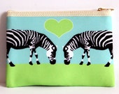 Zebra Love Makeup Bag / Purse - Zebra Pouch Zebra Purse Zebra Make up Bag Zebra Gifts Cute Makeup Bags Mothers Day Gifts for Women