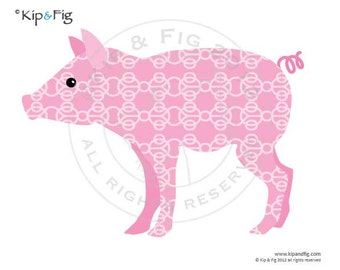 Piglet applique template - PDF applique pattern