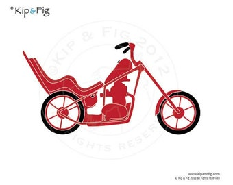 Chopper motorbike applique PDF template - applique pattern design - vintage style motorcycle