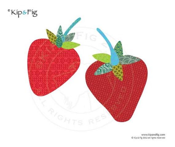 Strawberry applique template - pdf applique pattern - retro fruit design