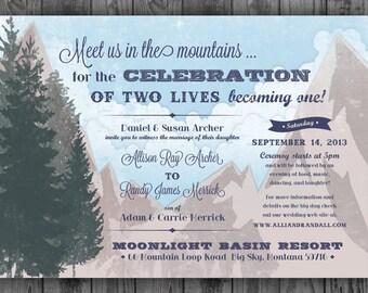 Custom Designed Woodsy Wedding Invitation Set and Matching Thank You Card
