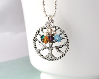 Family tree Necklace Personalized birth stone necklace mother necklace