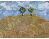 "Notecard, blank, hillside view, ""Two trees on hill"", original collage art, mixed media, note card"