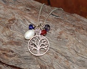 Family Tree Birthstone Necklace, Mothers Necklace- 5 Birthstones