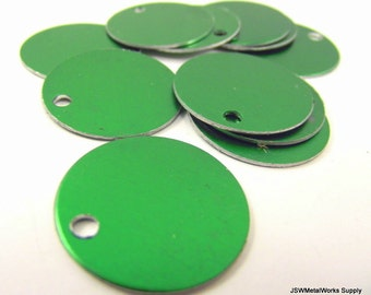 20 1 Inch Green Aluminum Tags, Large Blank Discs