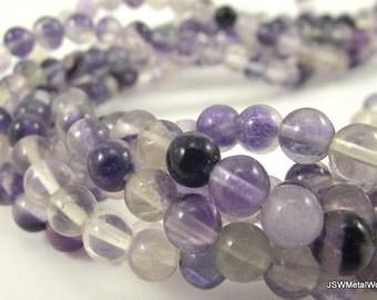 Rainbow Fluorite Round Beads (Natural), 6mm, 16 inch Strand, Whole Strand