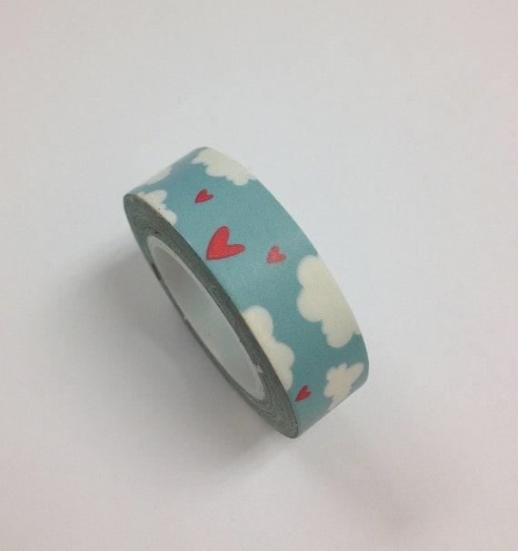 Japanese Washi Tape in Blue Sky w/  Clouds and Hearts (15M long)