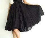 NO.6 Black Cotton Asymmetric Skirt-Dress(2 Options skirt)