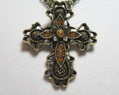 """Beautiful Antique Gold and Amber Jeweled Cross Necklace on Bronze 2 Chain Strand Tori Spelling 17"""" to 20"""" with Extender Chain"""
