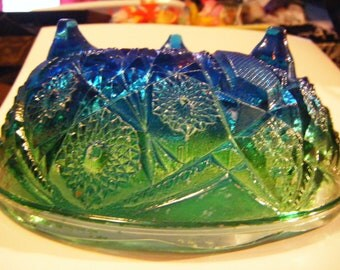 Vintage Jeanette Glass Company Blue Green Flash Sandwich Glass Footed Bowl