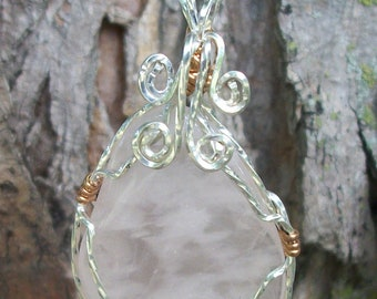 wire wrapped tumbled Quartz crystal pendant