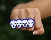 Personalized Alien Text Knuckle Ring / 3 / 4 Finger Ring (Made To Order)