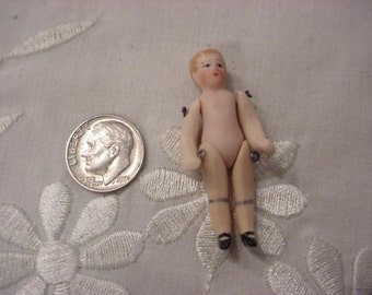 Tiny Miniature German Bisque Porcelain Undressed Boy Doll