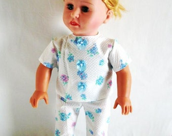 AG White Pajamas with Blue and Pink Flowers for 18 Inch Dolls, Including American Girl (DC11)