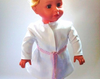 AG White Robe with Lace Neckline, Pink and Blue Tie and Velcro Closure for American Girl Doll (DC32)