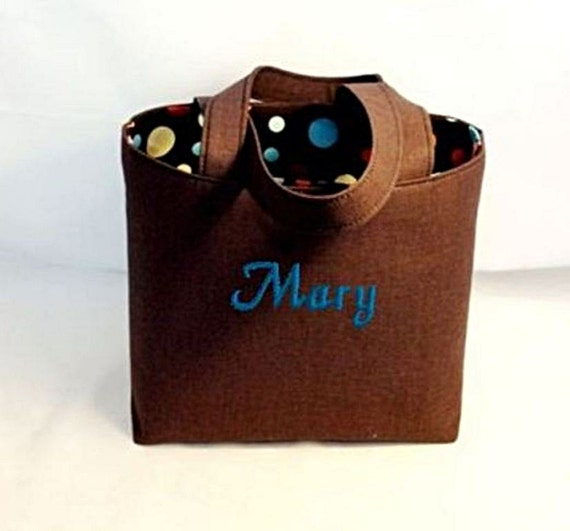 Tote Bag Fabric Handmade Tote Custom Embroidered with Monogram Brown and Dots