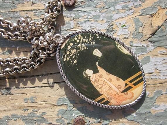 Geisha & Lantern Charm Necklace - Long Pendant - Cherry Blossom