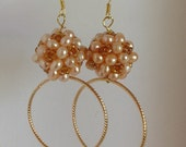 Handmade Earrings, Handcrafted Jewelry, Gold Hoops, Pearl Clusters, Celebrity Inspired, High Fashion