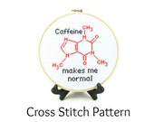 Caffeine Molecule Cross Stitch Pattern