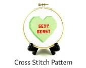 Conversation Heart - Sexy Beast Cross Stitch Pattern