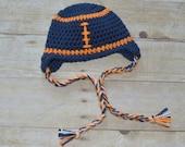 Crochet 0-3 Months Chicago Bears Football Earflap Hat